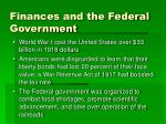 finances and the federal government