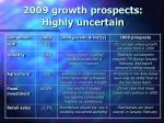 2009 growth prospects highly uncertain