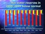 but water reserves in 2008 2009 below normal