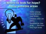 where to look for hope three possible areas