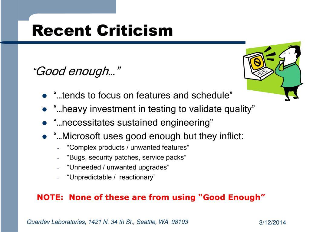 Recent Criticism