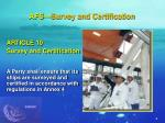 afs survey and certification