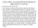 j curve effect associated with the devaluation or depreciation of a currency