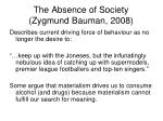 the absence of society zygmund bauman 2008