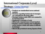 international corporate level strategy global strategy