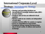 international corporate level strategy multidomestic strategy