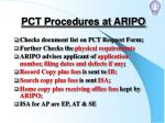 pct procedures at aripo
