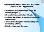 time limits for aripo regional national phase of pct applications