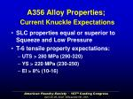 a356 alloy properties current knuckle expectations