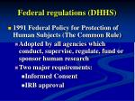 federal regulations dhhs