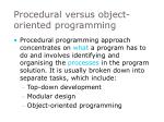 procedural versus object oriented programming