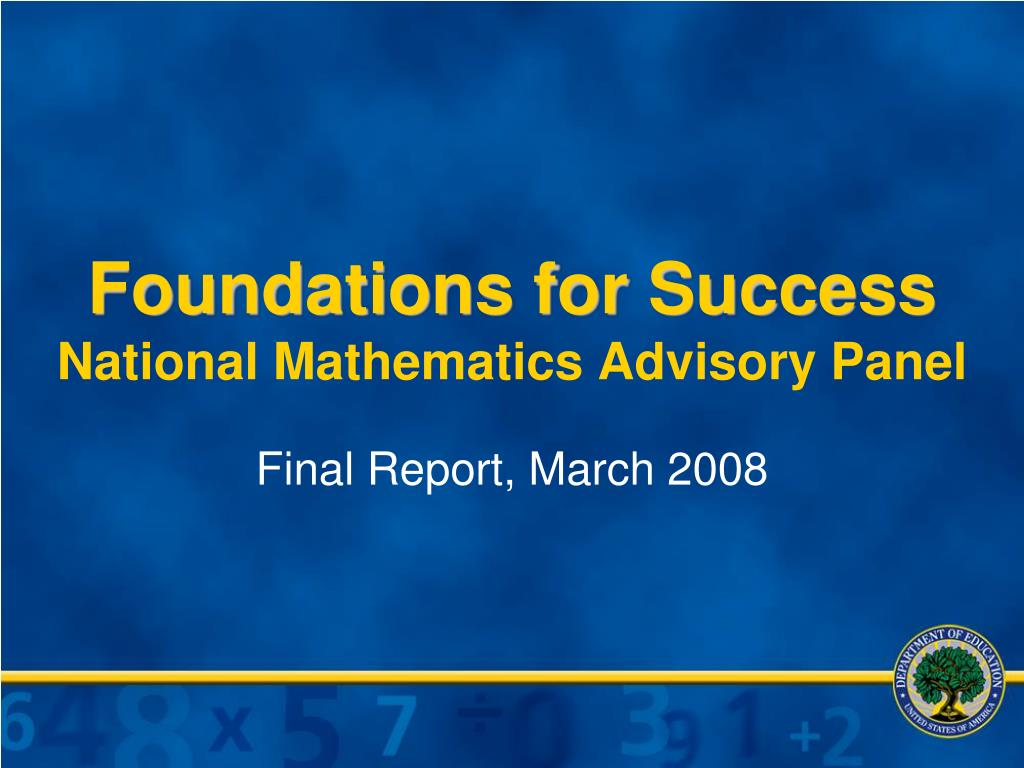 foundations for success national mathematics advisory panel l.