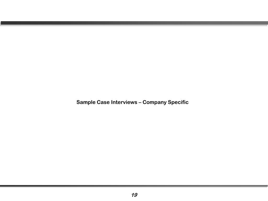 Sample Case Interviews – Company Specific