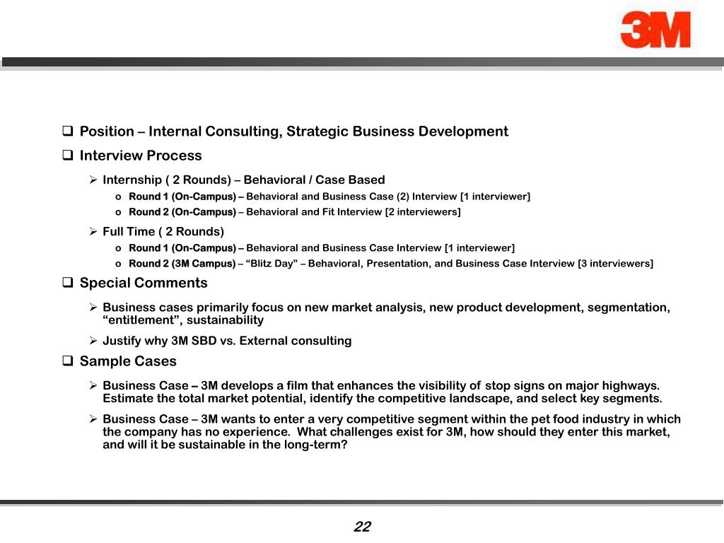 Position – Internal Consulting, Strategic Business Development