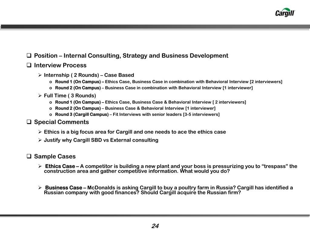 Position – Internal Consulting, Strategy and Business Development