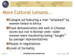 more cultural lessons