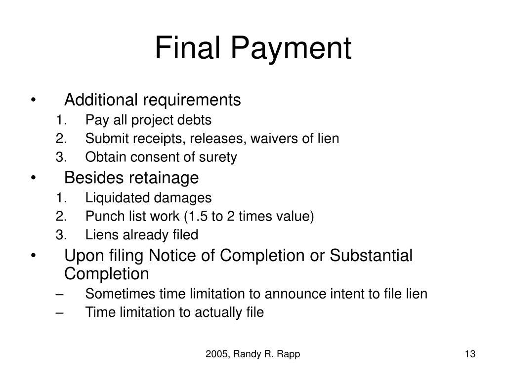 Final Payment