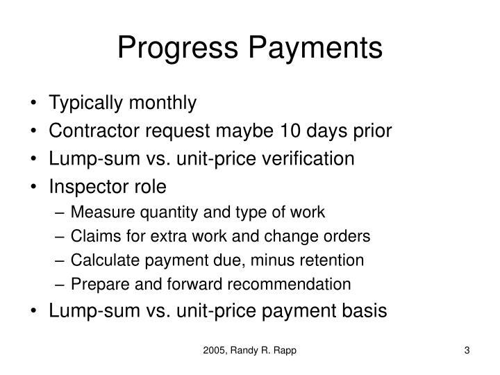 Progress payments