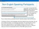 non english speaking participants