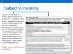 subject vulnerability