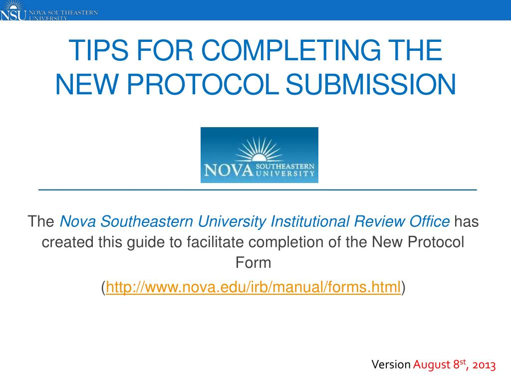 tips for completing the new protocol submission l.