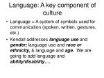 language a key component of culture