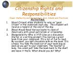 citizenship rights and responsibilities power authority and governance civic ideals and practices