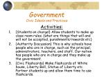 government civic ideals and practices