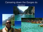 canoeing down the gorges du verdon