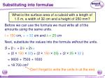 substituting into formulae16