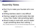 assembly notes