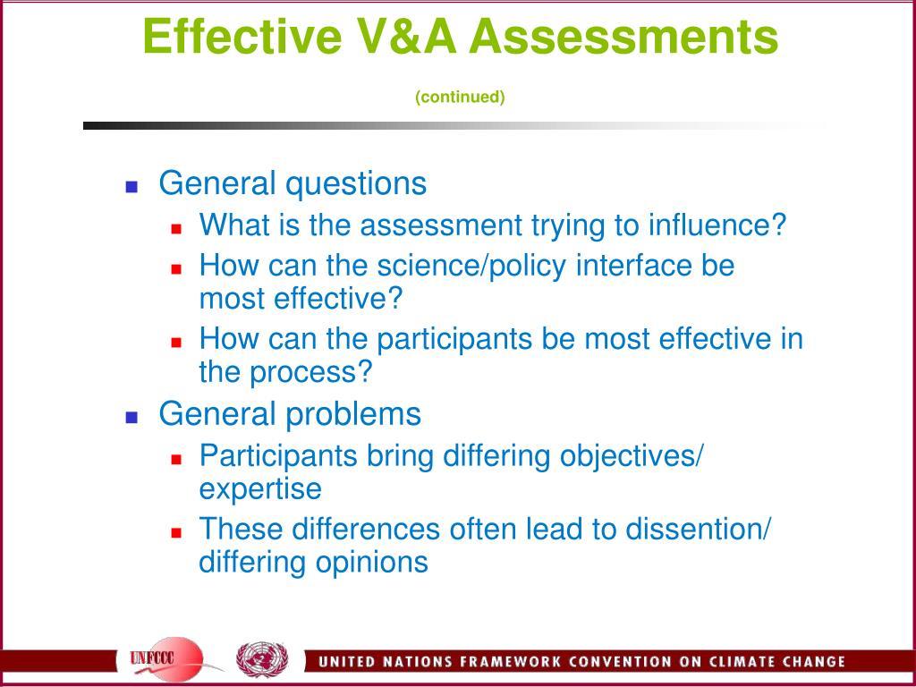 Effective V&A Assessments