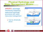 physical hydrology and water management models continued27
