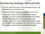numbering headings automatically