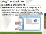 using thumbnails to navigate a document