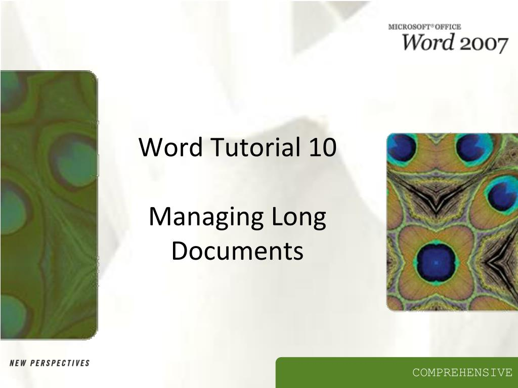 word tutorial 10 managing long documents l.