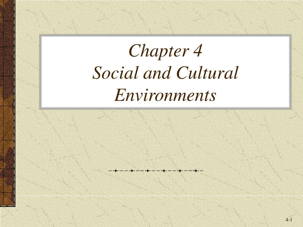 chapter 4 social and cultural environments l.