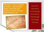 business education criminology economics psychology sociology nursing