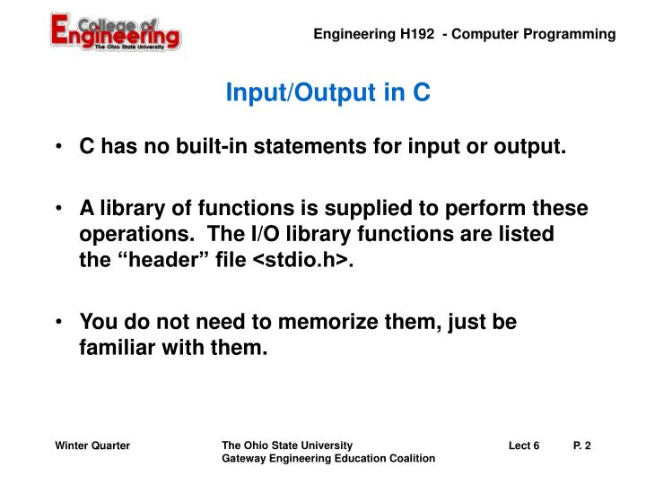 Input output in c
