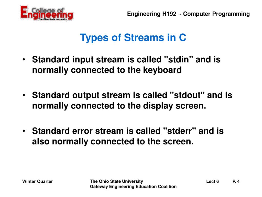 Types of Streams in C