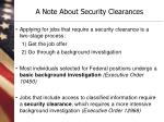 a note about security clearances