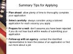 summary tips for applying