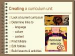 creating a curriculum unit
