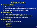 cluster goals