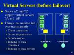 virtual servers before failover