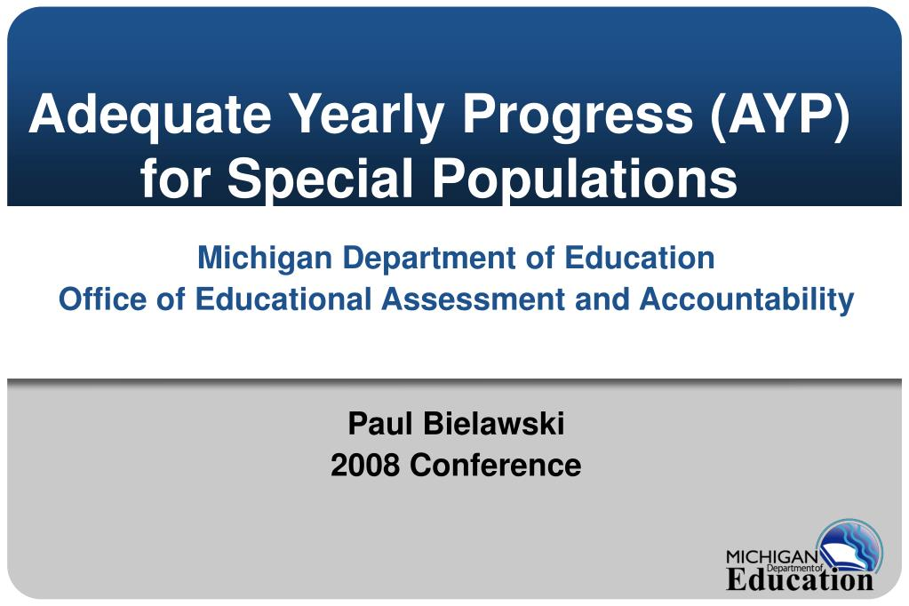adequate yearly progress ayp for special populations l.