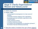 stage 3 clarify organisational mission and values cont10