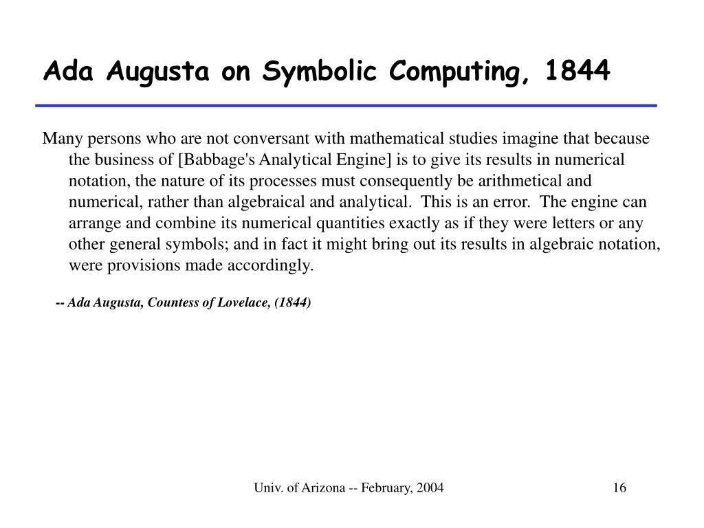 Ada Augusta on Symbolic Computing, 1844