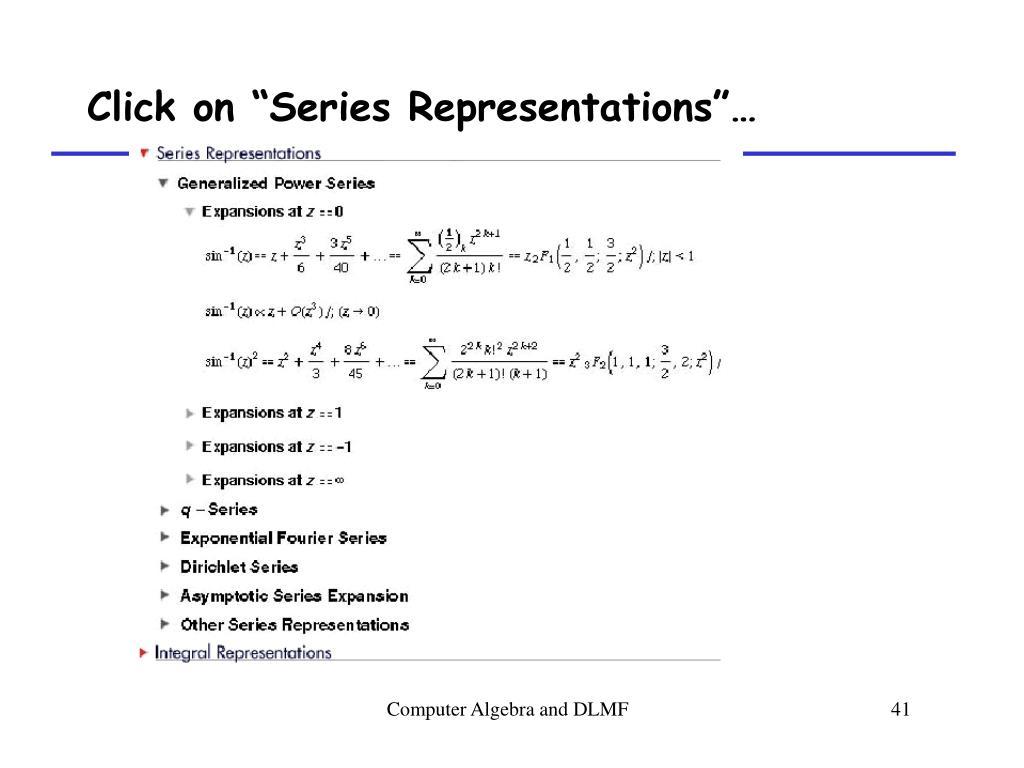 "Click on ""Series Representations""…"