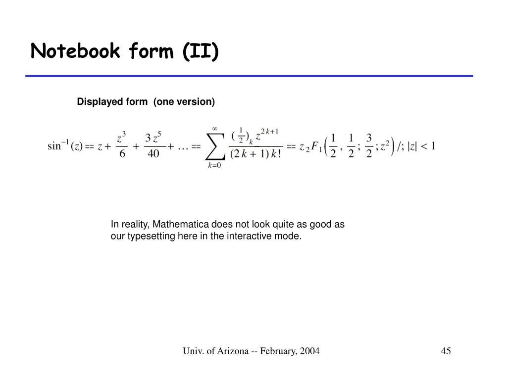 Notebook form (II)